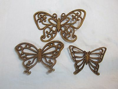 Vintage 1978 Syroco Homco Butterfly Wall Hanging Set #7537 Lot of 3