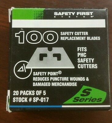 Pacific Handy Cutter, Safety Replacement Blades, 100 pack, fits S series cutters