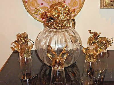 Large and Impressive Heavy Metal Lion Head Pitcher & 6 Stirrup Cups Glasses Set