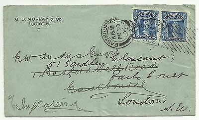 COVERS-CHILE. 22/02/1906. Multi-Franked Cover Iquique to England