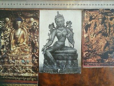 ANTIQUE  MONGOLIAN BUDDHIST POSTETS ON PAPER set of 3