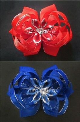 """6 BLESSING Happy Girl Hair Accessories Baby New Style 4.5-5"""" Lotus Bow Clip"""