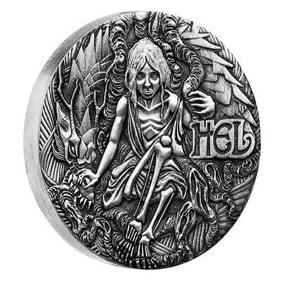 Australia 2017 Tuvalu Norse Goddesses Hel 2oz Silver Antiqued High Relief Coin