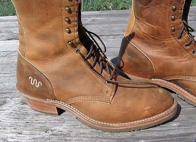 549b94e6016 VINTAGE MENS DOUBLE H KING RANCH Lacer Boots 11 EE Brown Leather Made in USA