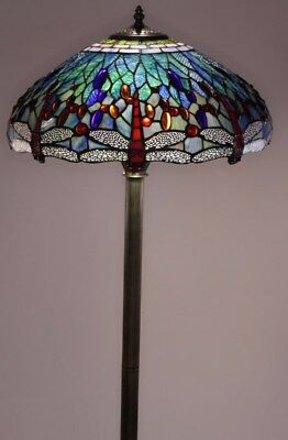 Standard Blue Bronze Stained Glass Copper Dragonfly Floor Lamp Home Indoor Decor