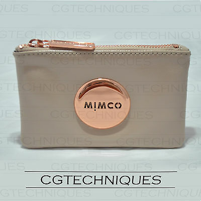 Mimco Pancake Rose Gold Small Pouch Wallet Patent Leather Rrp $69.95