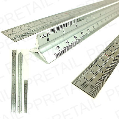 """6"""", 12"""" & SCALE RULER SET -SMALL+LARGE- Measure Rule Metal Stainless Steel 30cm"""