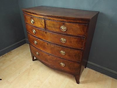 Antique Regency Flame Mahogany Bow front Chest of Drawers