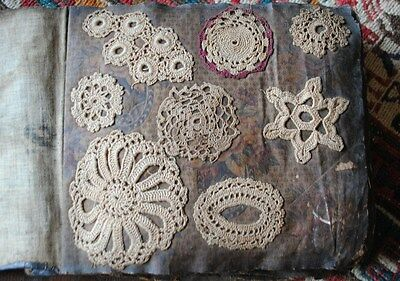 Antique Lace Crochet Sample Book Over 125 Samples 25 Pages Leather Bound 1800's