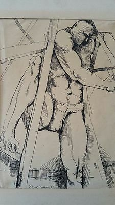 Bill McPherson mid 20thC 1950's surrealist male nude study pen and ink