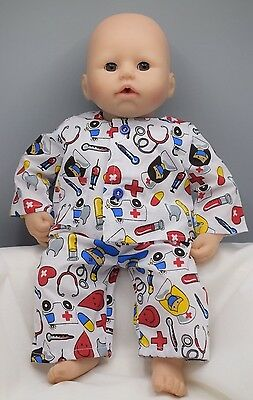 18in Dolls nightwear. Pj's to fit Goerge / Baby doll. White patterned