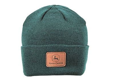 John Deere Beanie Hat with Suede Patch Green