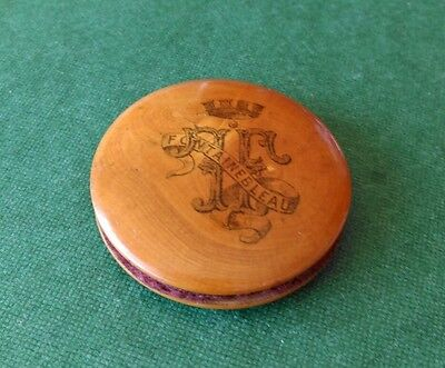 Mauchline Ware Circular Pin Cushion with Coat of Arms Fontainebleau.