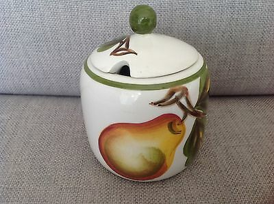 Vintage Radford Pottery hand painted jam pot decorated with a pear and leaves