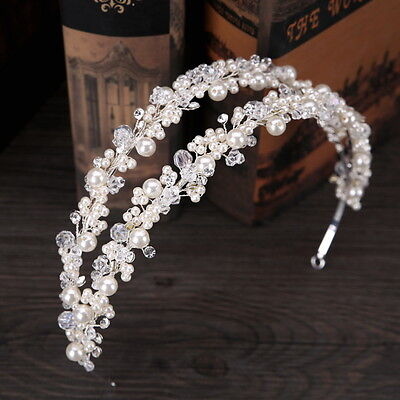 Pearl Crystal Beads Wedding Bridal Pageant Prom Party Crystal Head band Tiara
