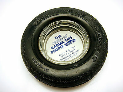 Vintage BF Goodrich Lifesaver Radial Tire Rubber Tire Glass Ash Tray Kansas