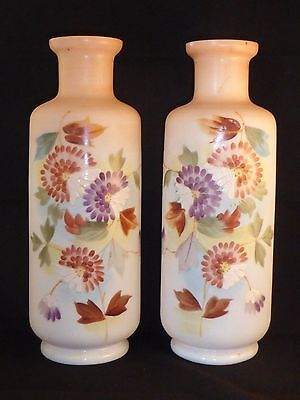Gorgeous Pair of Antique Victorian Harrach Enamelled Glass Vases with Blossoms