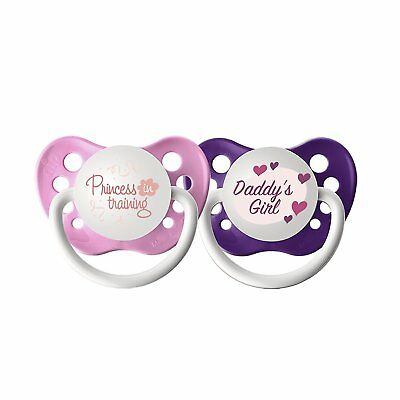 Ulubulu Expression Pacifier Set for Girls Princess in Training and Daddys 6-18