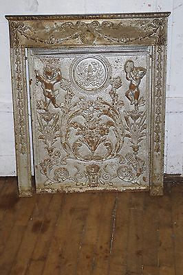 Antique Cast Iron Relief Ornate Cherubs Fireplace Hinged Door & Frame
