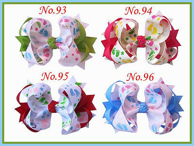 """20 BLESSING Good Girl Boutique 3.5 - 4"""" Ring Hair Bow Gingham Clip 120 No."""