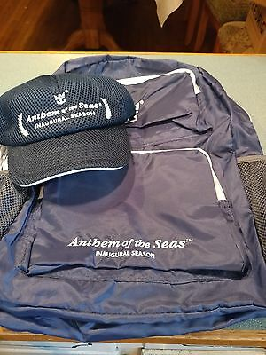 Royal Caribbean Anthem Inaugural package with backpack, cap and 3 can coozies.