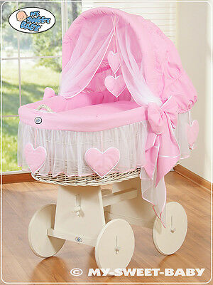 My Sweet Baby - Heart White Wicker Crib Moses Basket - Pink