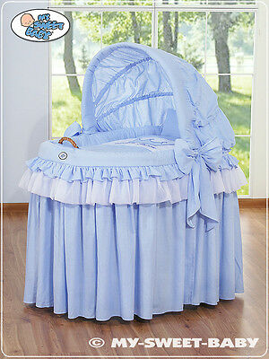 My Sweet Baby - Royal Wicker Crib Moses Basket - blue