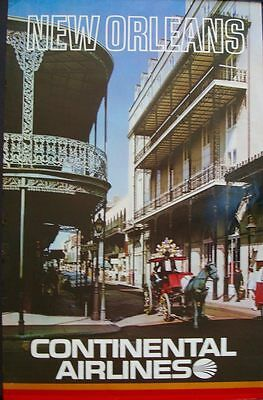 CONTINENTAL AIRLINES NEW ORLEANS FRENCH QUARTER Vintage 1973 Travel poster 25x40