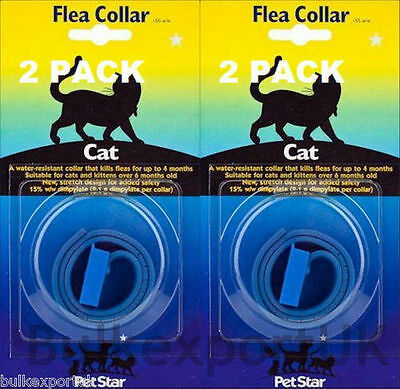 PET STAR 2 X PACK, CAT FLEA ,TICK, COLLAR, WATERPROOF Cat FLEA Collar