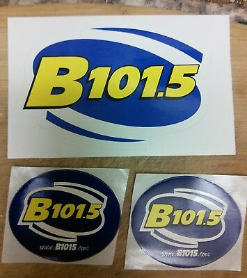 3 WBQB contemporary radio station stickers B 101.5 FM Fredericksburg, Virginia