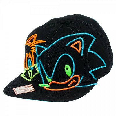 53c5ad81 OFFICIAL SEGA ~SONIC THE HEDGEHOG & TAILS SNAPBACK HAT~ Men's Flatbill Cap  FUNNY