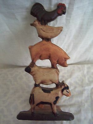 Cast Iron Farm Animal Doorstop Cow Chicken Pig Rooster Duck Country Americana