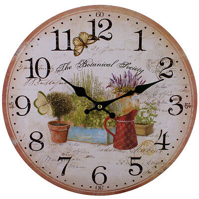 Country Style Shabby Chic Garden Kitchen Wall Clock - NEW IN BOX