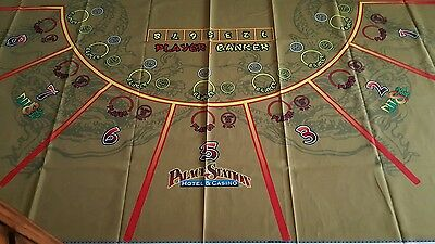 Palace Station Casino- AUTHENTIC UNUSED Baccarat Green Table Layout.