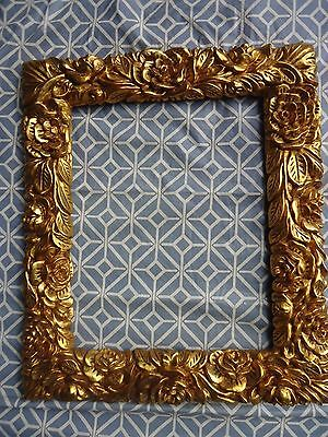 Hand Carved wood frame in gold leaf Floral Roses Baroque style Picture Mirror