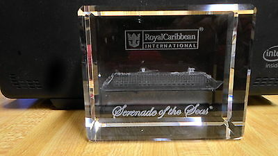 Royal Caribbean Serenade of the Seas Crystal Block Paperweight  NEW