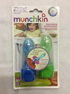 Munchkin Click Lock Food Pouch Spoon Tips, 2 Spoon Tips, Colors May Very
