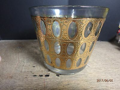 Vintage Culver Pisa Crackle 22K Gold Barware Ice Bucket