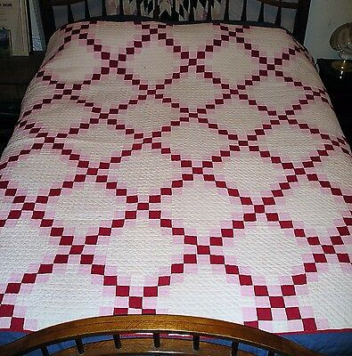Antique Cotton Quilt with Red and Pink Squares