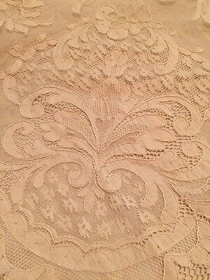 """Antique ALENCON FRENCH Net Lace TABLECLOTH or BED COVER 100""""x90"""" Ecru Stunning"""