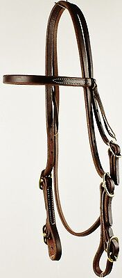 Western Pre-Oiled Browband Horse Bridle with Brass Buckles NEW