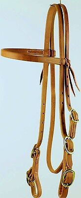 Western Harness Leather Browband Horse Bridle with 4 Buckles NEW