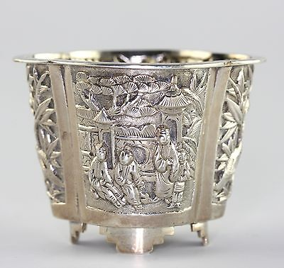 Antique Chinese Qing Era Silver Repousse Open Salt RARE KMS Kwan Man Shing Mark