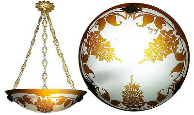 Art Nouveau Deco WISTERIA Cameo Glass Chandelier Lamp DEGUE 1920s 1930s ANTIQUE