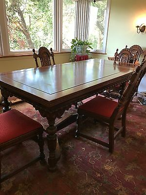 Jacobean-style Oak 9 Piece Formal Dining Room Set