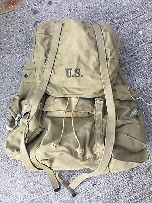 Vintage 1942 WWII Hinson Canvas External Frame Rucksack Military Pack Backpack