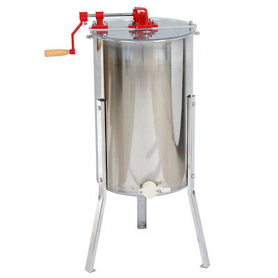 2 Frame Stainless Steel Honey Extractor with Stand Beekeeping Equipment New