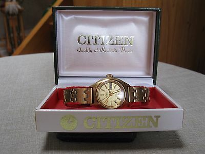 Vintage Automatic CITIZEN Ladies Gold Plated Parawater Parashock Watch Orig Case