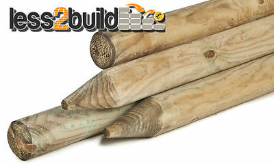 1.8M X 60MM 2nd GRADE MACHINED ROUND POINTED TIMBER FENCE POST TREE STAKES
