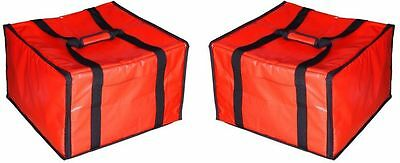 "NEW 2 Pizza Delivery Bags Insulated 20"" x 19"" Heavy Duty Hot Cold Food NO TAX"